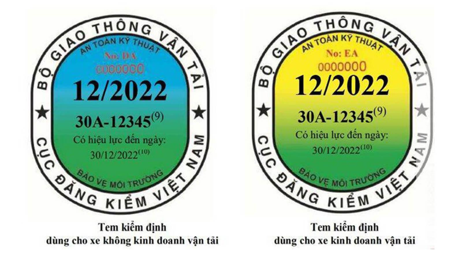 Mẫu tem kiểm định được mới từ tháng 10 năm 2021